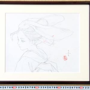 絵画「夜神姫」のための下絵 鉛筆線画直筆素描 オリジナル1点
