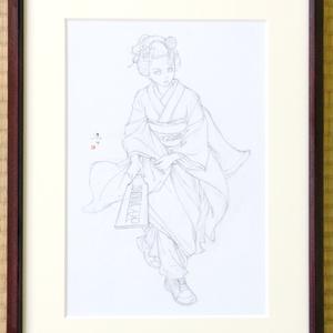 墨絵「羽子板」のための下絵 鉛筆線画直筆素描 オリジナル1点