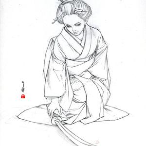 絵画「歓迎」のための下絵 鉛筆線画直筆素描 オリジナル1点