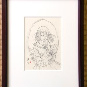 平蒔絵(金)試作品のための下絵 鉛筆線画直筆素描 オリジナル1点
