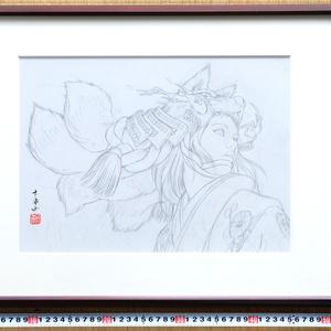 絵画「天狐」のための下絵 鉛筆線画直筆素描 オリジナル1点