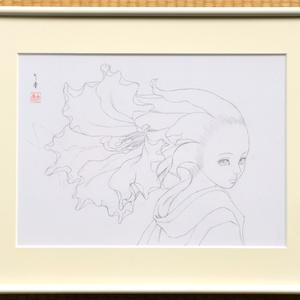 絵画「蜂鳥」のための下絵 鉛筆線画直筆素描 オリジナル1点