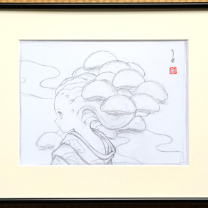 絵画「高田松原」のための下絵 鉛筆線画直筆素描 オリジナル1点