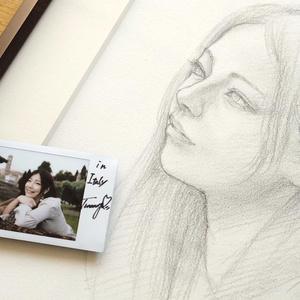 ★全額寄付します★イタリアで制作したスケッチ・ツナマヨさんサイン入りチェキ付き 鉛筆素描オリジナル1点