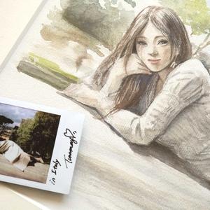 ★全額寄付します★イタリアで制作したスケッチ・ツナマヨさんサイン入りチェキ付き 鉛筆水彩素描オリジナル1点