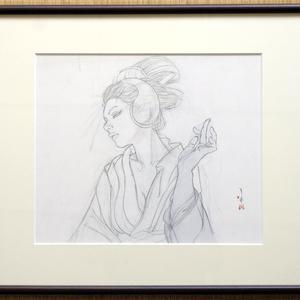 絵画「見立て弁天 鶴形脛骨簪」のための下絵 鉛筆線画直筆素描 ツナマヨさんモデル オリジナル1点