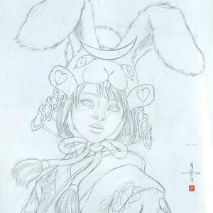 絵画「Samurai Bunny」のための下絵 鉛筆線画直筆素描 オリジナル1点