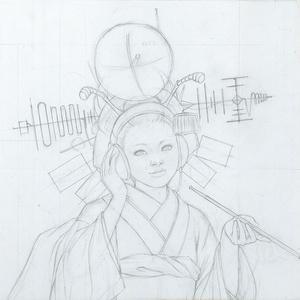 絵画「antenna」のための下絵 鉛筆線画直筆素描 オリジナル1点