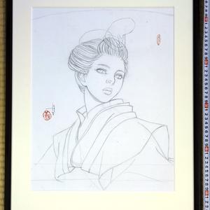 絵画「静御前Ⅱ」のための下絵 鉛筆線画直筆素描 オリジナル1点