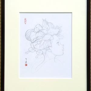 絵画「来迎図」のための下絵 鉛筆線画直筆素描 オリジナル1点