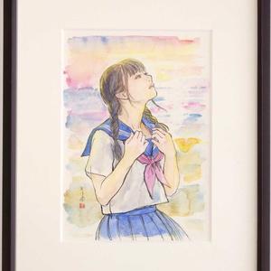 金銀蒔絵螺鈿「花月夜」のためのスケッチ ペン・水彩画直筆素描 オリジナル1点