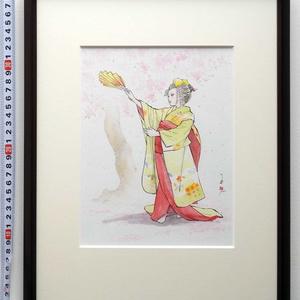 「春の舞」 ペン・水彩画直筆素描 オリジナル1点