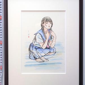 金銀蒔絵螺鈿漆作品群のためのスケッチ④ ペン・水彩画直筆素描 オリジナル1点