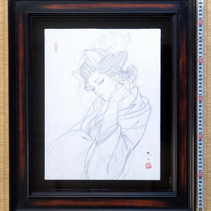 絵画「見立て義経千本桜 初音の鼓」のための下絵 鉛筆線画直筆素描 オリジナル1点