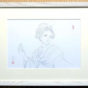 絵画「見立て源氏」のための下絵 鉛筆線画直筆素描 オリジナル1点