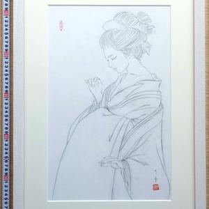 絵画「見立て日光」のための下絵 鉛筆線画直筆素描 オリジナル1点