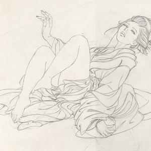 絵画「見立て七薬師」のための下絵 鉛筆線画直筆素描 オリジナル1点