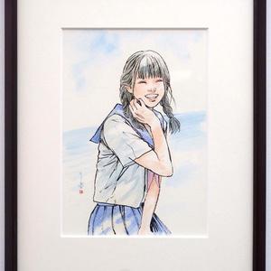 金銀蒔絵螺鈿漆作品群のためのスケッチ⑥ ペン・水彩画直筆素描 オリジナル1点