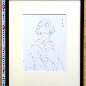 絵画「見立て姫山 春花」のための下絵 鉛筆線画直筆素描 オリジナル1点