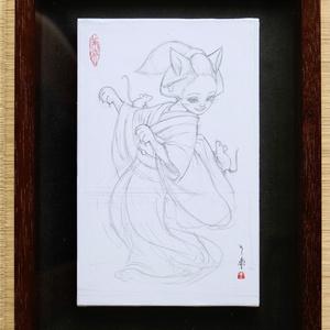絵画「女狐」のための下絵 鉛筆線画直筆素描 オリジナル1点