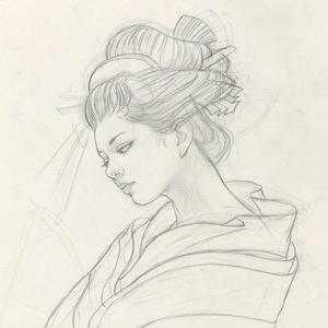 絵画「やつし権現」のための下絵 鉛筆線画直筆素描 オリジナル1点