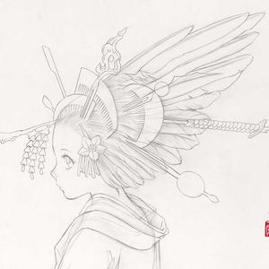絵画「花簪」のための下絵 鉛筆線画直筆素描 オリジナル1点