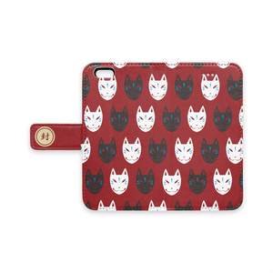 【iPhone用・赤】狐面パターン柄手帳型ケース