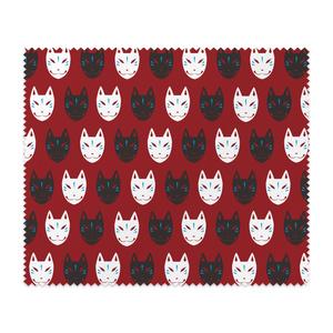 【全2色】狐面パターン柄メガネ拭き