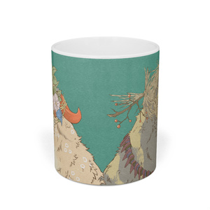 民族風おおかみマグカップ(青緑)