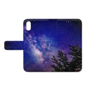 iPhoneX用 手帳型ケース天の川と流れ星①
