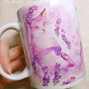 ラベンダー狐(Lavender Fox)マグカップ ※送料込