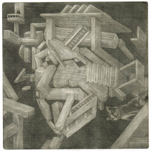 銅版画:キャットウォーク アインシュタイン
