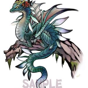 ポストカード【かそけき蒼森の龍姫】