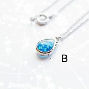 [再販15] 人魚のしずく ネックレス (銀・水色)
