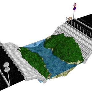 3Dジオラマ道路と川