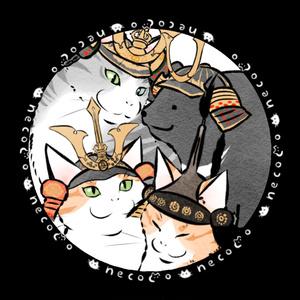 武将な猫の44mm缶バッジ(広家さん猫と爺上たち)
