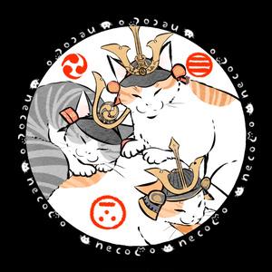 武将な猫の44mm缶バッジ(三矢の猫)