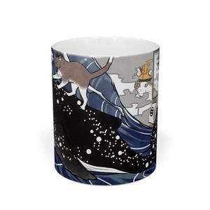 鯨と里見な猫たちの浮世絵風マグカップ