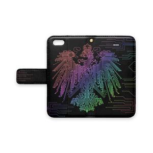プロイセン iPhoneケース 黒×虹(ストラップ穴あり