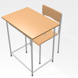 【3Dモデル】学校机と椅子