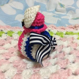 おまんじゅう着ぐるみ 羽根つき帽子 青ピンク