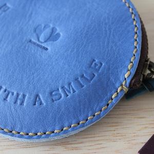手縫いのコインケース / smile コバルトブルー