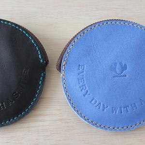 手縫いのコインケース / smile ブラック