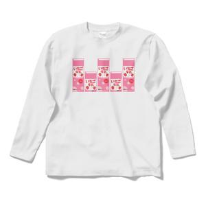 イチゴ牛乳パックロングスリーブTシャツ