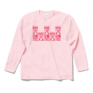 イチゴ牛乳パックロングスリーブTシャツ(ピンク)