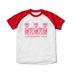 イチゴ牛乳パックラグランTシャツ