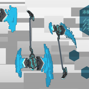 【VRChat向け】3Dモデル サイバー風ハンマー/アックス/サイズver2 N-O-S-03h/03a/03s NoiseHammer/NoiseAxs/NoiseScythe