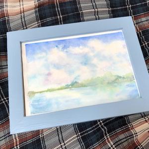 湖の水彩原画