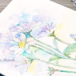 ブルーの菊の水彩原画