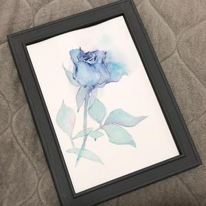 青薔薇の水彩原画